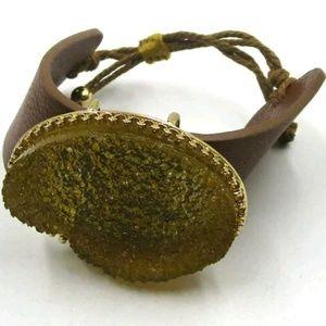 Jewelry - Leather Cuff Druzy Bracelet